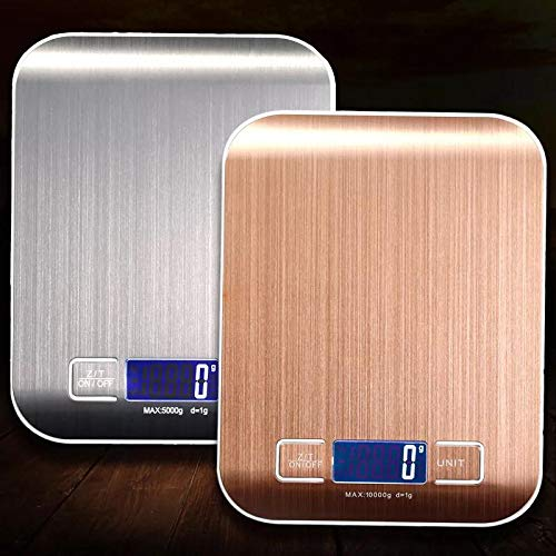 bymutlu Küchenwaage Digital LCD Elektronische Waage Slim 5Kg/1g Edelstahl Metalloberfläche Digitalwaage (Silber)