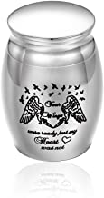 BGAFLOVE Small Keepsake Urns for Ashes Mini Cremation Urns for Ashes Stainless Steel Memorial Ashes Holder - Your Wings were Ready, But My Heart was Not