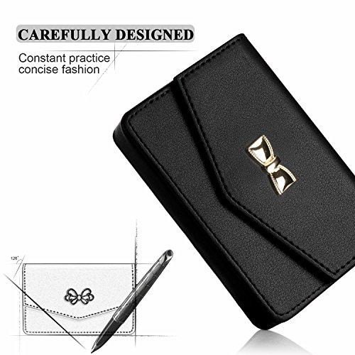FYY Business Card Holder, Handmade Premium Leather Business Name Card Case Universal Card Holder with Magnetic Closure (Hold 30 pics of Cards) Black Photo #5