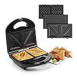 Klarstein Trilit 3-en-1 Sandwich-Maker Panini-Maker gaufrier - 750W, 3 plaques de gril interchangeables en aluminium, revêtement antiadhésif, antidérapant, boîtier plastique, noir
