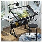 Wyhgry Mesa de Dibujo Plegable,Profesional Mesa de Dibujo Artistico,Vidrio Templado Mesa de Dibujo Ajustable en Altura,para el Hogar y Oficina (Color : Glass)