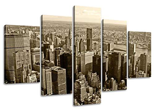 Foto's op doek lengte 63 hoogte 31 Nr 5514 New York Skyline klaar om op te hangen, merk originele Visario!