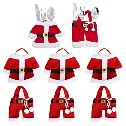 WELLXUNK® Portaposate di Natale, 8 Pezzi Posate Argenteria titolari Tasche Forchetta per...