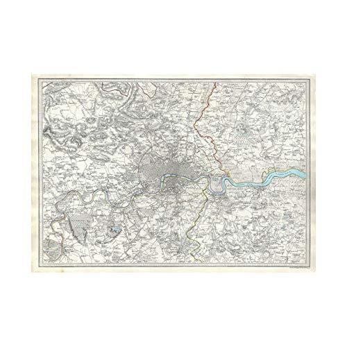 bea5b57e21c Wee Blue Coo Map Illustrated Antique Sduk London Wall Art Print