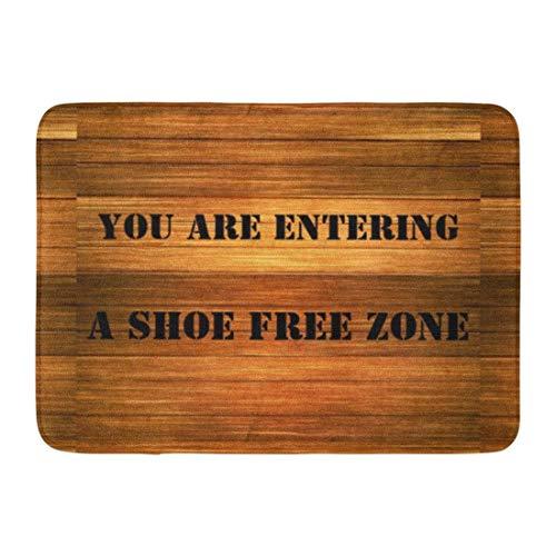 flys Kinhevao Bath Mat Urock Funny Fake Wood Shoe Free Humor Bathroom Decor Rug