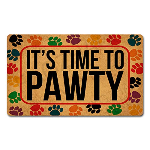 FXGZHAO Welcome Mat with Rubber Back (30 x 18 inch) It's Time to Pawty Funny Doormat for Entrance Way Decorative Mats for Front Door Mat No Slip Kitchen Rugs and Mats