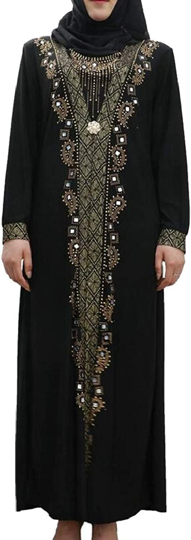 QDCACA Women's Elegant Long Sleeve Maxi Muslim Rhinestone Arabia Dress