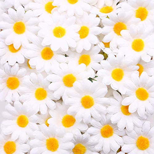 Artificial Daisy, 200PCS Silk Daisy Artificial Gerber Daisy Artificial Chrysanthemum Daisy Flowers Heads for Wedding Decoration Home Decoration, 1.5inch, White
