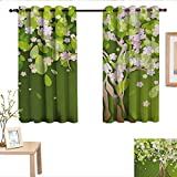 <span class='highlight'><span class='highlight'>TimBeve</span></span> Grommet Curtains Floral,Tree with Blossoming Flourishing Petals Florets Spring Season Themed Print,Fern Green Light Pink,Blackout Draperies for Bedroom Window 42