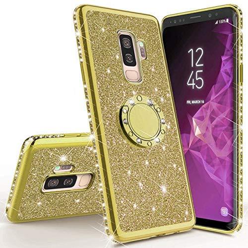 XMCJ Carcasa magnética brillante para Samsung Galaxy S10 S10e S8 S9 Plus A5 A7 2018 A6 A8 Note 8 9 360 Ring Back Cover (color: dorado, material: para Galaxy S7 Edge)