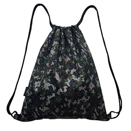 Black Temptation Imperméable Tissu Oxford Camouflage Imprimé Drawstring Sacs à Dos