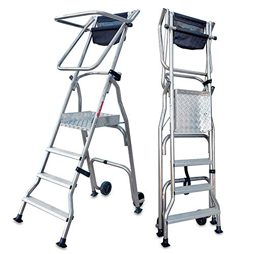 Faraone - Escalera con Plataforma PL4 - 228x72x34cm - Escalera 4 Peldaños - Escalera Plegable de Aluminio - Uso Profesional - Fácil de Transportar - Uso en Industrias y Grandes Superficies
