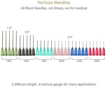 BSTEAN 30 Pack - 1ml, 3ml, 5ml,10ml, 20ml Syringes with 14ga, 16ga,18ga, 20ga, 22ga and 25ga Blunt Tip Needles and Ca...