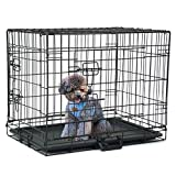 24 inch collapsible pet kennel steel crate animal fence pet folding wire cage double door cat and dog cage with divider and plastic tray,Black