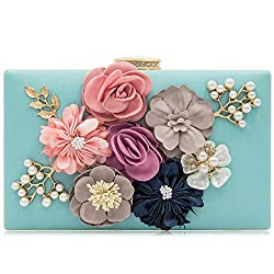 Floral Light Blue Clutch With Pearls and Rhinestones Purse