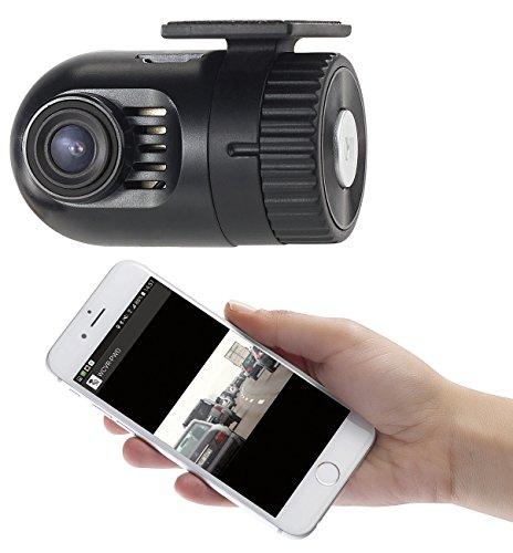 NavGear Dashcam vorne und hinten: Mini-HD-Dashcam MDV-1600.av mit G-Sensor, WLAN und Smartphone-App (Minidashcam)
