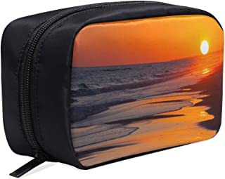 Sun Setting On The Beach With Orange And Yellow Sky Portable Travel Makeup Cosmetic Bags Organizer Multifunction Case Small Toiletry Bags For Women And Men Brushes Case