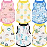 6 Pieces Printed Dog Shirts Cute Puppy Clothes Soft and Breathable Pet Mesh T-Shirt Colorful Summer Sweatshirt Pullover Clothes for Small to Medium Dogs Puppy Cats (L Size)