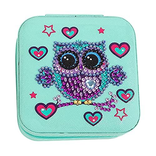 liuyu Caja de joyería de diamantes 5D organizador de joyas de resina para niñas caja de joyería de terciopelo con forro de anillo, organizador de pequeños viajes con cremallera