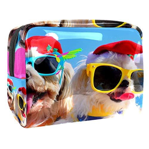 Neceser de Maquillaje Estuche Escolar para Cosméticos Bolsa de Aseo Grande Perro de Verano de Vacaciones con Gafas de Sol