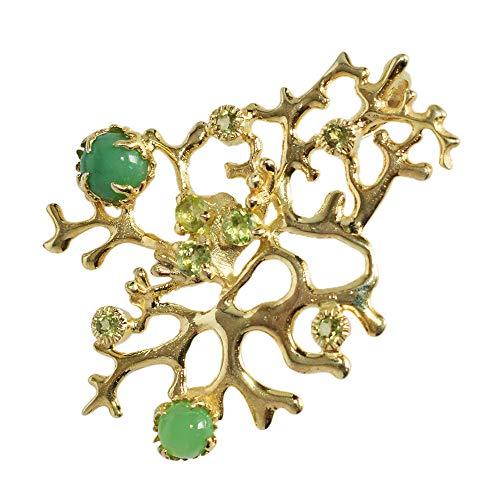 Exclusiva Joyería Natural Verde crisoprasa Gema Colgante, Peridoto, chapado en oro amarillo, joyería de plata real, FSJ-3998