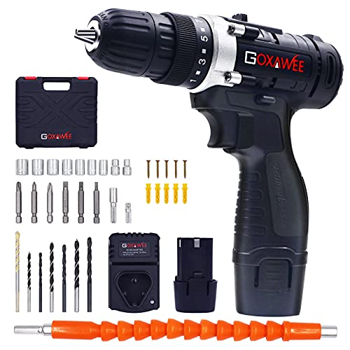 Cordless Drill with 2 Batteries - GOXAWEE Electric Screw Driver Set 100pcs Set with Durable Tool Case (High Torque, 2-Speed, 10mm Automatic Chuck) for Home Improvement & DIY Project