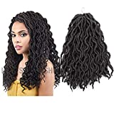 2X Wavy GYPSY 6Packs Nu Locs Curly Faux Locs Synthetic Crochet Pre-looped Braid 60g/Pcs Crochet Locs Synthetic Dreadlocks Kanekalon Wavy Faux Locs Crochet Hair 12Inch (1B Natural Black)