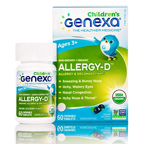 Genexa Allergy-D for Children – 60 Tablets | Certified Organic & Non-GMO, Physician Formulated, Homeopathic | Multi-Symptom Allergy Relief Medicine for Children