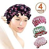 [Lot de 4] à la mode Grande Bain Bonnet de douche pour cheveux longs Femme double couche imperméable Bonnet de douche Bande élastique Superbe élastique