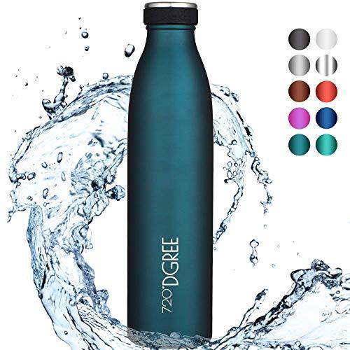 """720°DGREE Edelstahl Trinkflasche """"milkyBottle"""" – 350ml, 500ml, 750ml, 1000ml - Deine Lifestyle Thermoflasche, Isolierflasche - Doppelwandig, Vakuum isoliert, Auslaufsicher & Kohlensäure geeignet"""