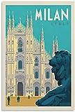 APAZSH Lienzos Decorativos Póster de Viaje Retro de la Ciudad de Milán Italia Pintura Lienzo Arte de Pared Poster decoración50x70cm x1 Sin Marco