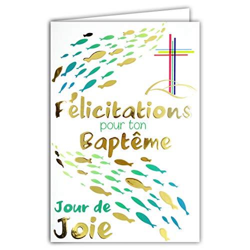 Afie 69-7083 Carte Félicitations pour ton Baptême Catholique Chrétien Croix Parrain Marraine Jour de Fête Joie Poissons Eau Bleu Or Doré Fabriqué en France