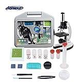 Aomekie Microscope Enfant 300X-600X-1200X avec Lames de Microscope Mallette de...