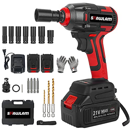 Cordless Impact Wrench, 1/2 Chuck Impact Driver/Drill/Screws with 3200RPM Variable Speed, Torque 300 ft-lbs,21V Lithium-Ion 4.0AH Battery Pack and Replacement battery, Safety Lock Design, Tool Box