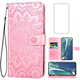 Phone Case for Samsung Galaxy Note 20 Glaxay Note20 5G Wallet Cases with Tempered Glass Screen Protector Leather Slim Flip Cover Card Holder Stand Cell Gaxaly Notes 20s Twenty Not S20 Women Rose Gold