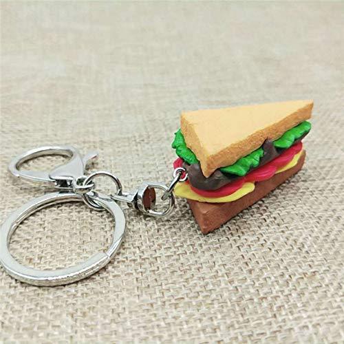 SKJH 2 Arten Cartoon Sandwich Schlüsselbund Lebensmittel Schlüsselring Rucksack Dekorationen Anhänger Schlüsselanhänger