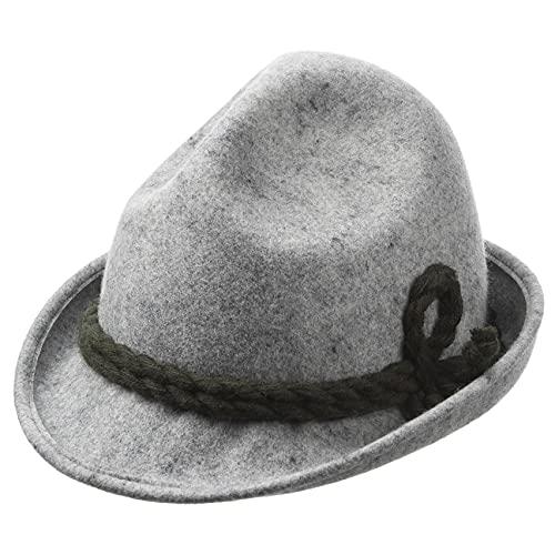 Hutshopping Kinder Dreispitz Wollfilzhut - Unifarbener Trachtenhut für Kinder - Sepplhut aus 100% Wollfilz - Wanderhut mit doppelter Kordel - Sommer/Winter grau 49 cm