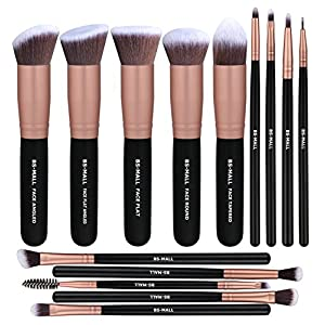 Beauty Shopping BS-MALL(TM) Makeup Brushes Premium 14 Pcs Synthetic Foundation Powder Concealers Eye Shadows Silver Black Makeup Brush…