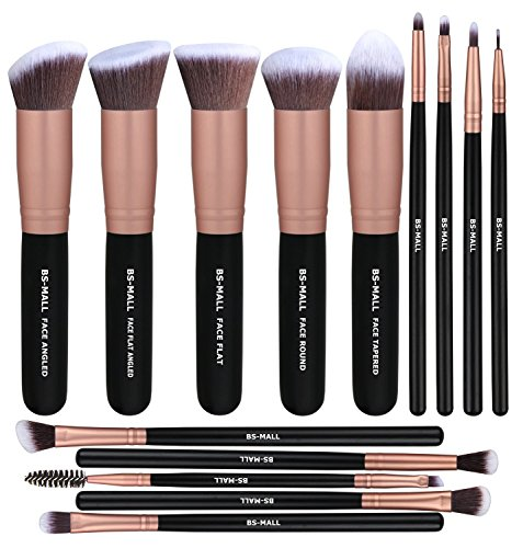 BS-MALL Makeup Brushes Premium Synthetic Foundation Powder Concealers Blending Eye Shadows Face Makeup Brush Sets(14 Pcs, Rose Golden)