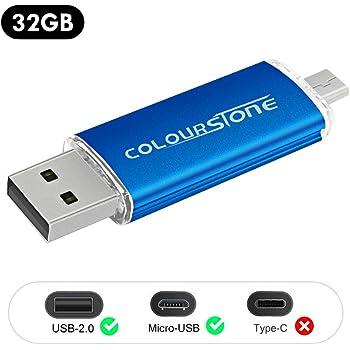 OTGMemoria USB 2.0, Colourstone 32GB Pendrive del Puerto Dual Compatible con Samsung Huawei Smartphones y Tablets Memoria Externa, Azul: Amazon.es: Electrónica