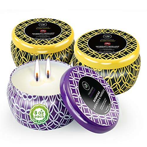 Eco Aroma Coco-Soy Scented Tin Candles, 3-Pack 24oz (8oz Ea) | Lavender Vanilla, Citronella Lemongrass Candles Outdoor | 2-Wick Aromatherapy Candles Gift Set