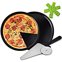 2-Pack Non-stick Pizza Baking Pans with Pizza Cutter