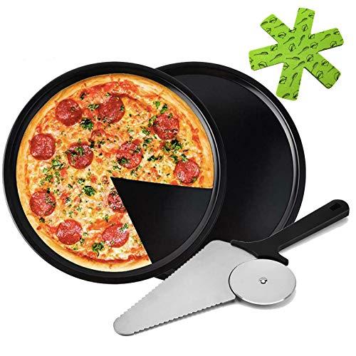 2-Piece Set Non-stick Pizza Baking Pan, Premium Kitchen Deep Dish Round Pizza Tray Dishwasher Safe Baking Sheet for Home Kitchen handmade Pizza Bakeware with Pizza Cutter