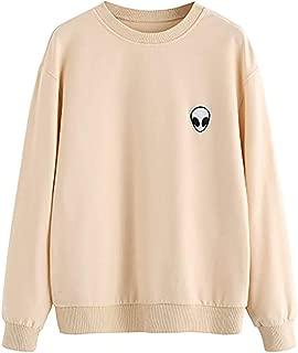 Womens Casual Long Sleeve Pullover Sweatshirt Alien Patch Shirt Tops