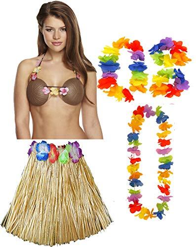 Labreeze Damen-Rock, Hula-Rock, 40 cm, Lei-Set, Kokosnuss-BH, Hawaii, Strandparty, 4 Stück