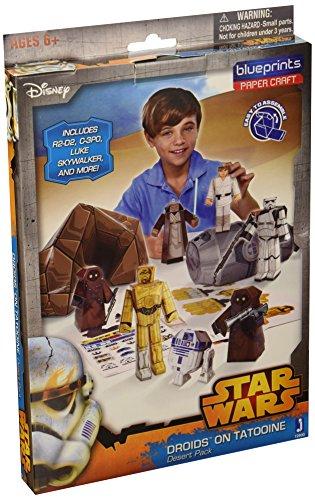 Jazwares 12900 - Blueprints Star Wars Wüstenflucht Papier Bastelset, 30 Teile