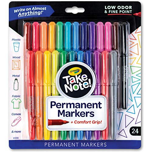 Crayola Take Note Fine Point Permanent Markers for Adults and Kids, Assorted Colors, 24 Count, Multi