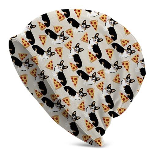 Fodmua Corgi Tricolored Pizza Dog Classic - Gorro de punto acrílico para hombre
