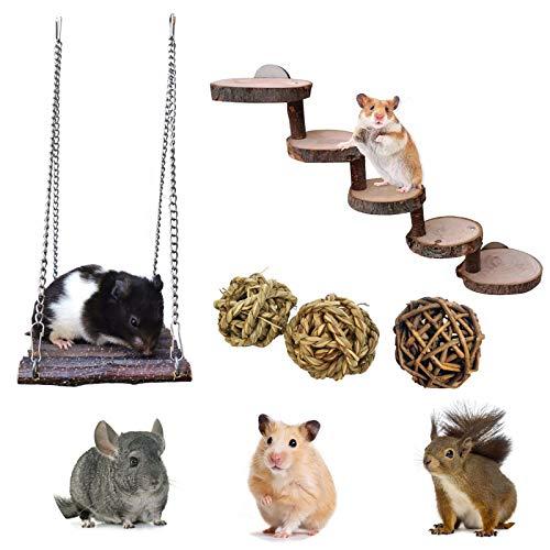 Chinchillas Spielzeug Zubehör,4 Stück/Set Bunny Kauspielzeug,Apfelholzzweighängematte + Holzleiter,Molar Spielzeug für Chinchilla, Syrischer Hamster