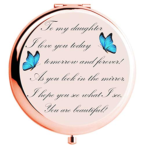 muminglong Daughter Gifts from Mom and Dad, Daughter Birthday Gift Ideas, Rose Gold Compact Makeup Mirror with Quote for Birthday, Christmas,Graduation (to My Daughter)
